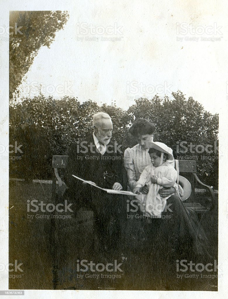 Edwardian family stock photo