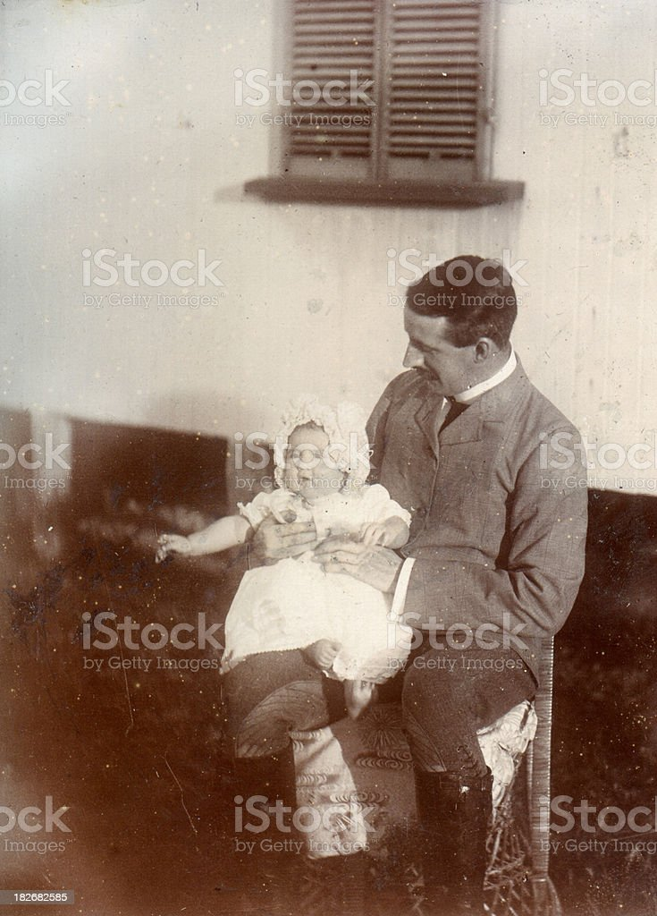 Edwardian father and child stock photo