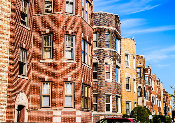 Edwardian flats in Calumet Heights, Chicago stock photo