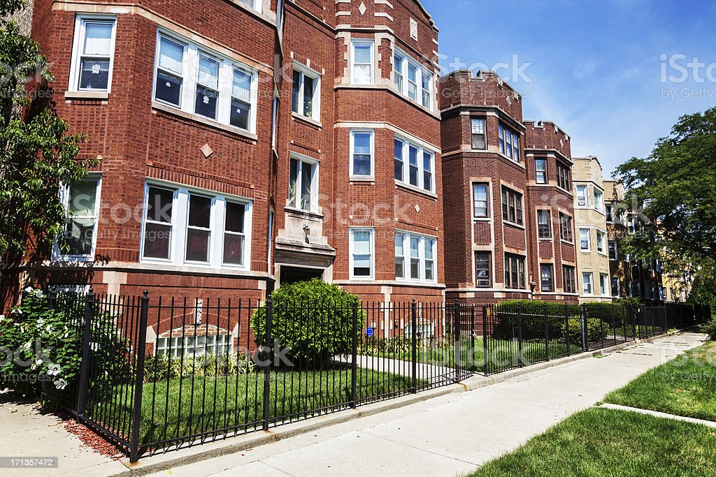 Edwardian flats in Washington Heights, Chicago stock photo