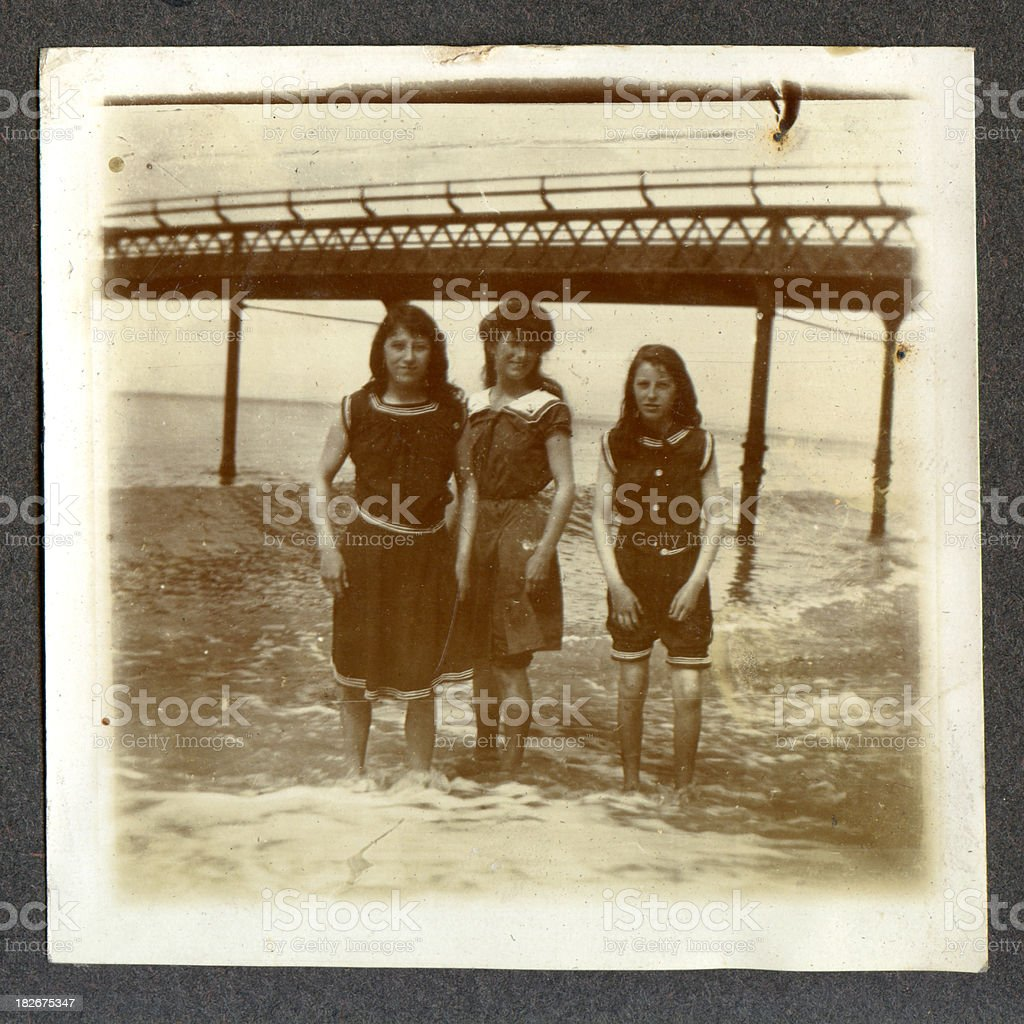 Edwardian girls by the seaside stock photo