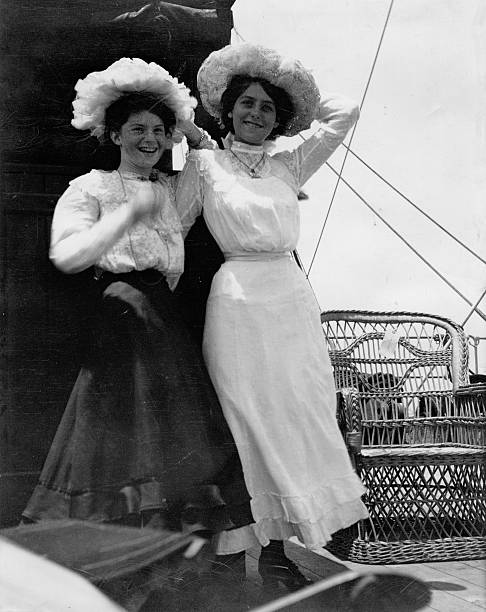Edwardian Girls Old Photograph Vintage photograph of two happy young women from the Edwardian period, circa 1910. 19th century stock pictures, royalty-free photos & images