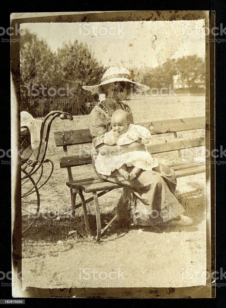Edwardian mother and child stock photo
