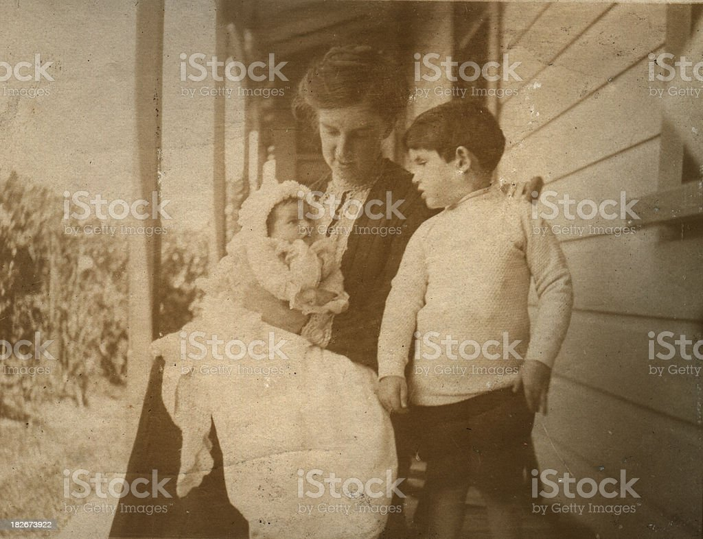 Edwardian mother and children stock photo