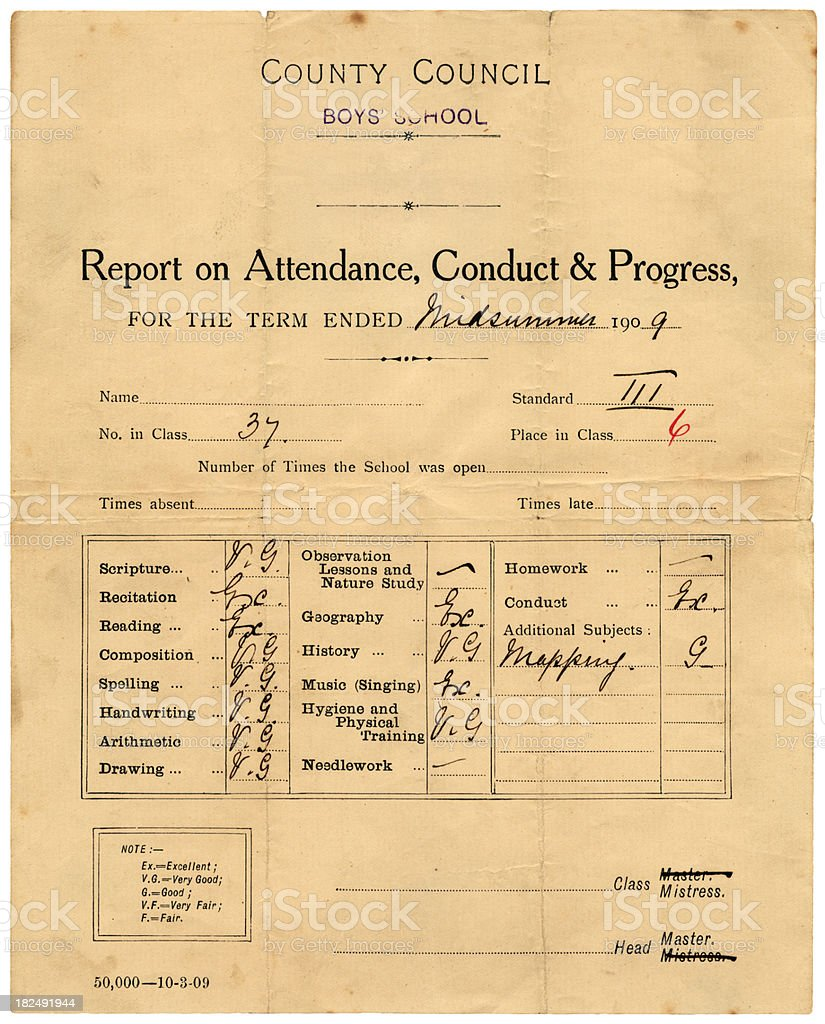 Edwardian school report royalty-free stock photo