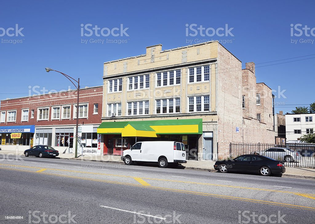 Edwardian Shop Buildings in a Far Southeast Chicago Neighborhood royalty-free stock photo