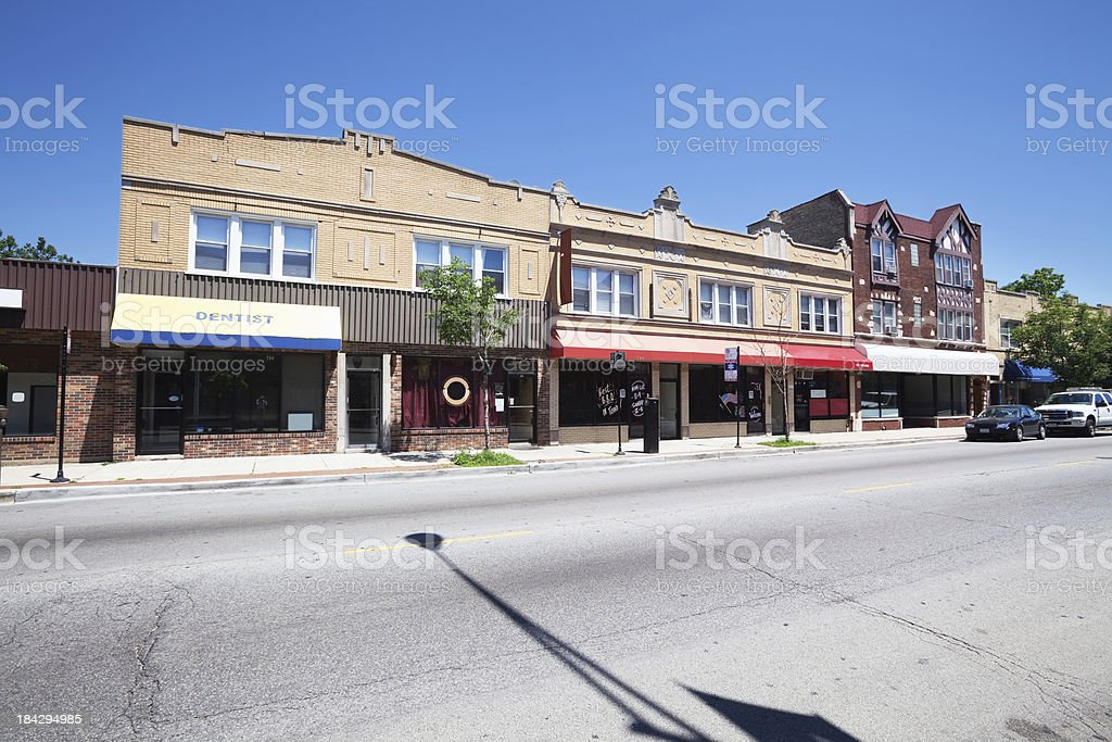Edwardian shop buildings in North Park,  Chicago royalty-free stock photo