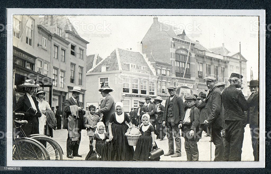 Edwardian Street Scene Belgium - Old Photograph royalty-free stock photo
