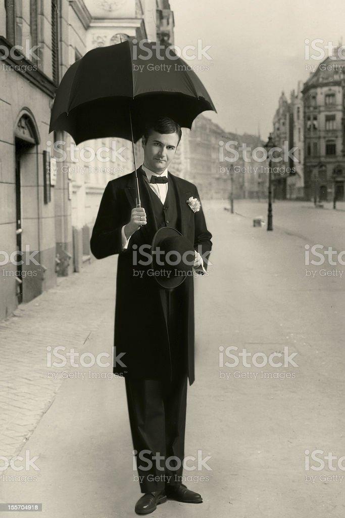 Edwardian style.Under umbrella stock photo