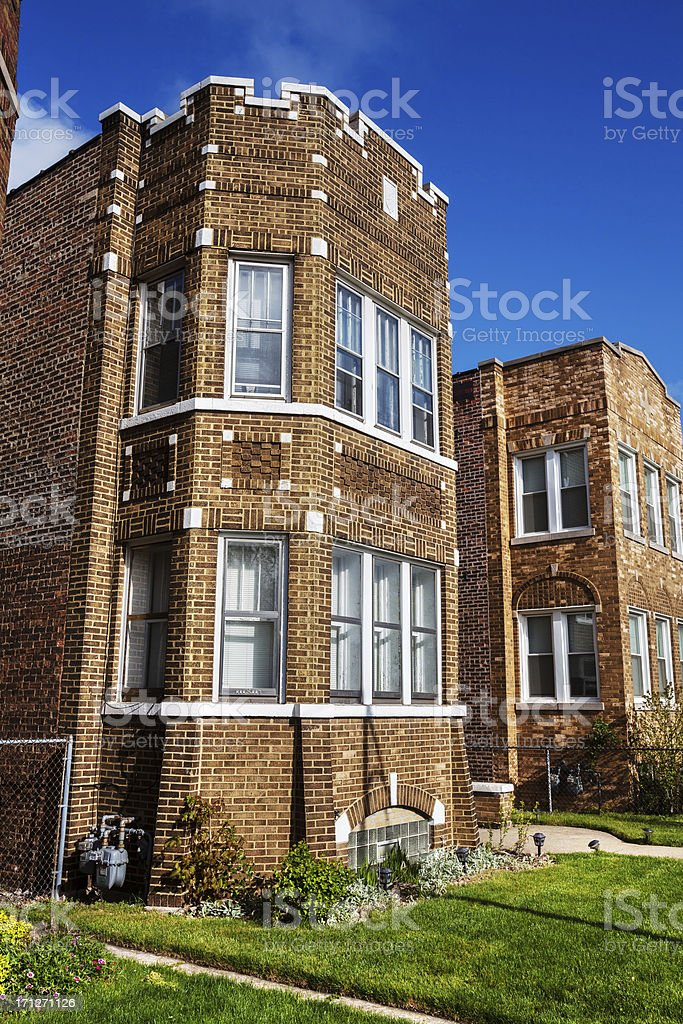 Edwardian Town House in East Side, Chicago royalty-free stock photo