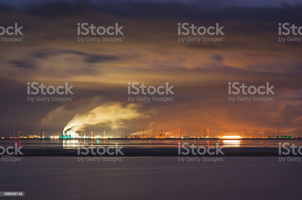 Eemshaven at night stock photo