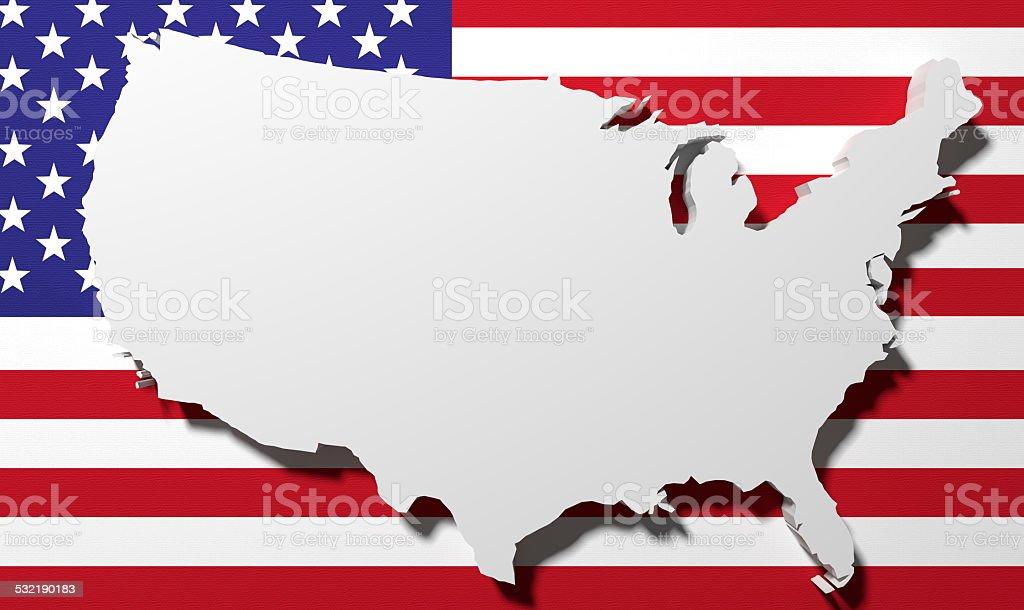 Bandera y mapa de eeuu - foto de stock