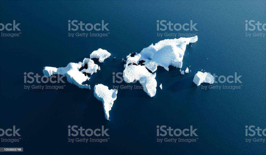 Auswirkungen der globalen Erwärmung in der Natur. Konzeptbild schmelzende Welt geformt Gletscher im tiefblauen Wasser. 3D Illustration. – Foto