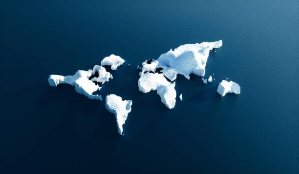 Efecto del calentamiento global en la naturaleza. Imagen conceptual del mundo fusión en forma de glaciar en agua azul. Ilustración 3D. - foto de stock
