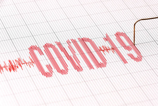 COVID-19 effect on stock market graph stock photo