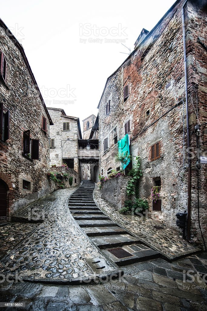 Effect painting of Anghiari, medieval village in Tuscany - Italy stock photo