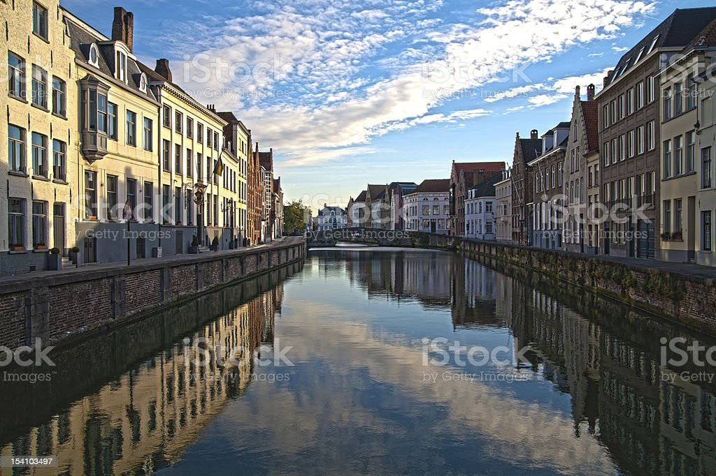HDR effect, sights of buildings on canal In Brugges, Belgium royalty-free stock photo