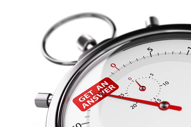 Effective Customer Service Concept Stopwatch over white background with the text get an answer. 3D image for illustration of effective customer service. ASAP stock pictures, royalty-free photos & images