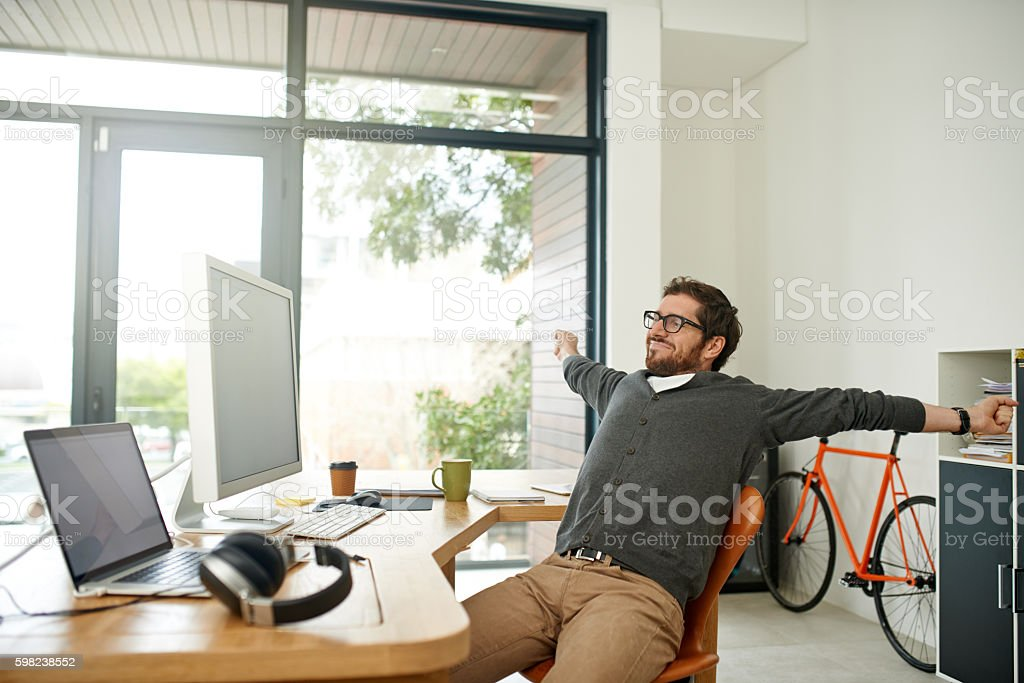 Effects of a productive workday stock photo