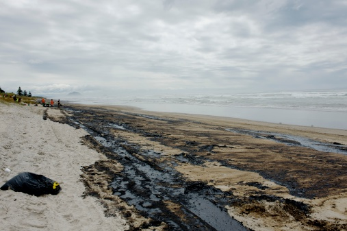Effects Of Rena Oil Spill On The Beach Stock Photo - Download Image Now
