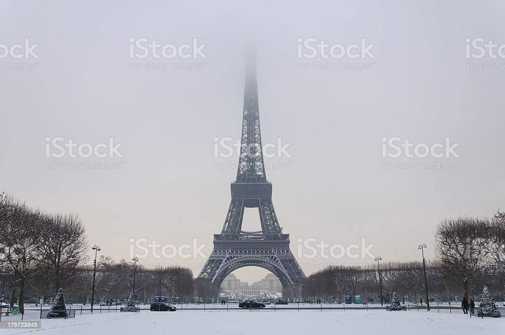 Effeil Tower in the clouds stock photo