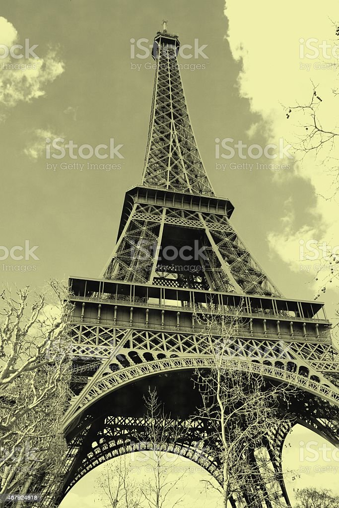 Effeil tower view with old postcard effect stock photo