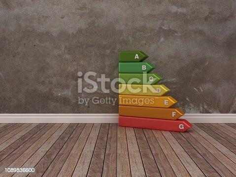 Efficiency Energy Diagram on Wood Floor - 3D Rendering