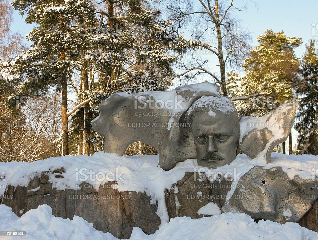 Effigy of Jean Sibelius at Sibelius Park stock photo