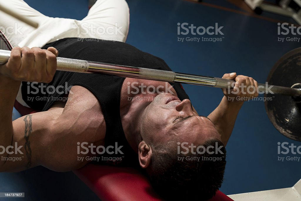 Effort On The Bench Press royalty-free stock photo
