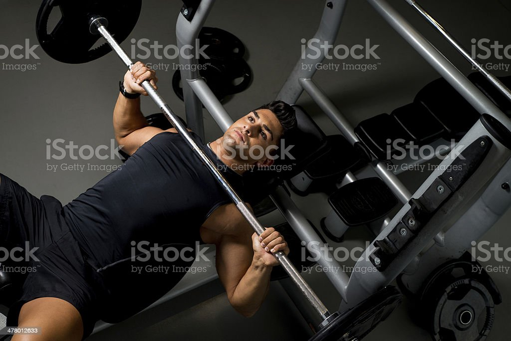 Effort on the bench press stock photo