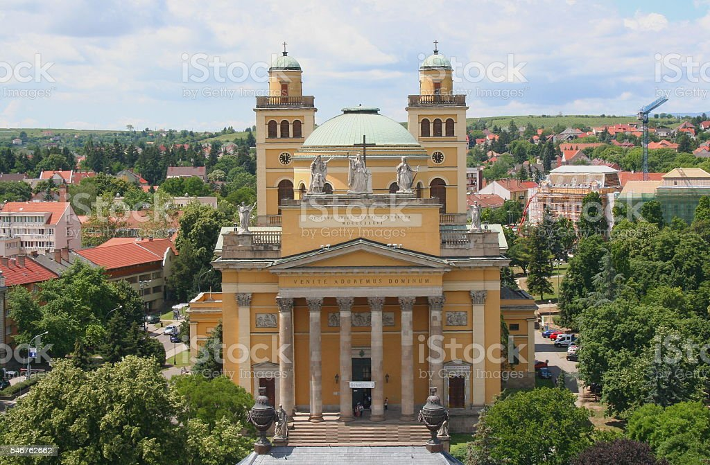 Eger Cathedral frontwise stock photo