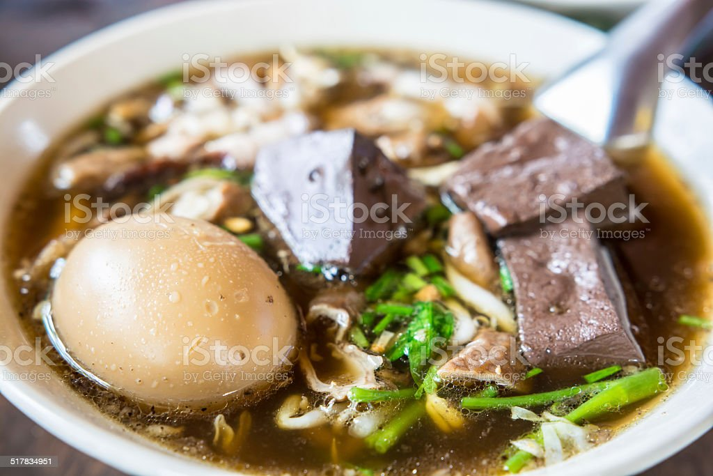egg and bloods soup stock photo