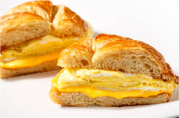 Egg and Cheese Breakfast Sandwich stock photo