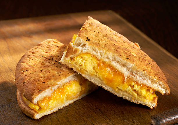 Egg and Cheese Flat Bread Panini stock photo