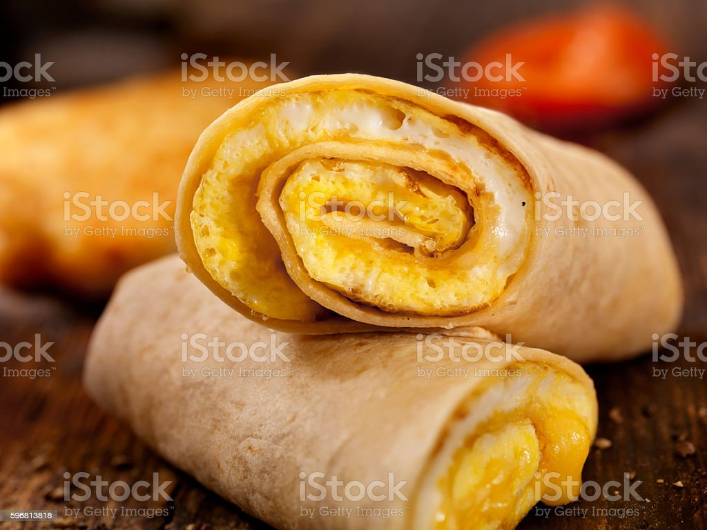 Egg and Cheese Omelette Breakfast Wrap stock photo