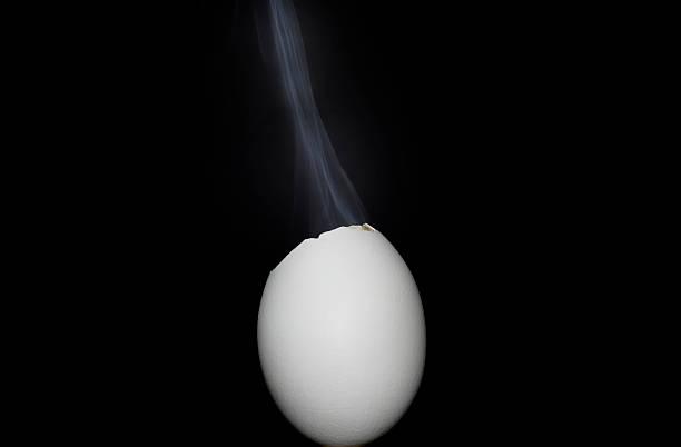 Egg and smoke stock photo