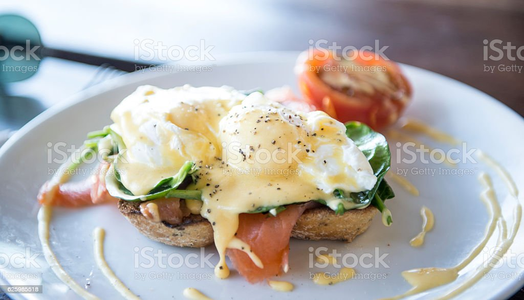 Egg Benedict with Smoke salmon stock photo