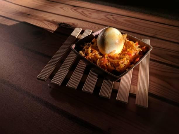 egg biryani rice stock photo