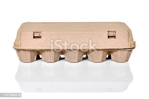egg carton container box isolated on white with reflection