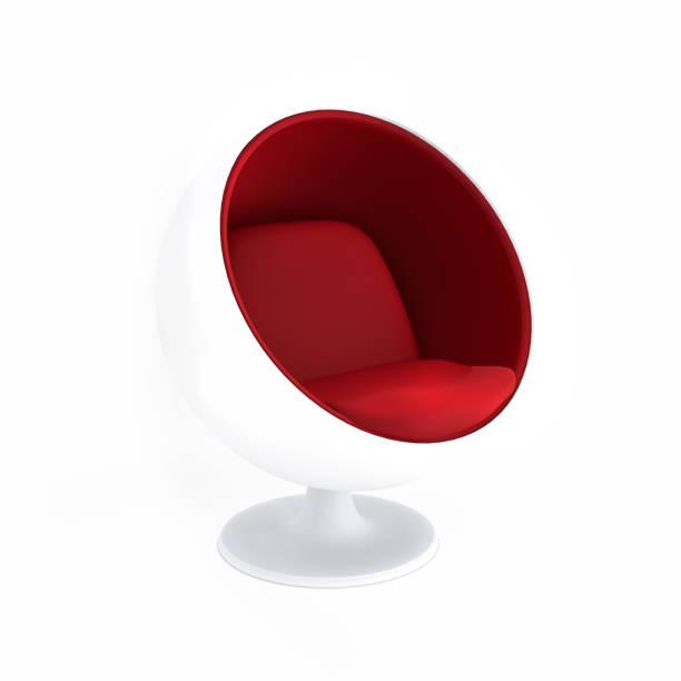 egg chair isoliert auf weißem hintergrund. 3d-rendering - exklusive mode stock-fotos und bilder