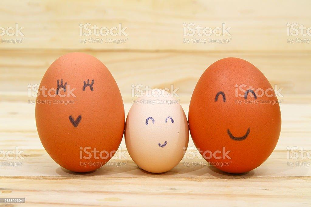 egg family in emotion stock photo
