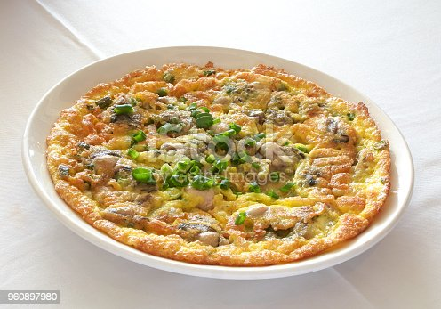 Egg foo yong (omelette) with oysters and green onions. Pan-fried to perfection with a proper caramelized crust and al dente oysters. Garnished with green onions.
