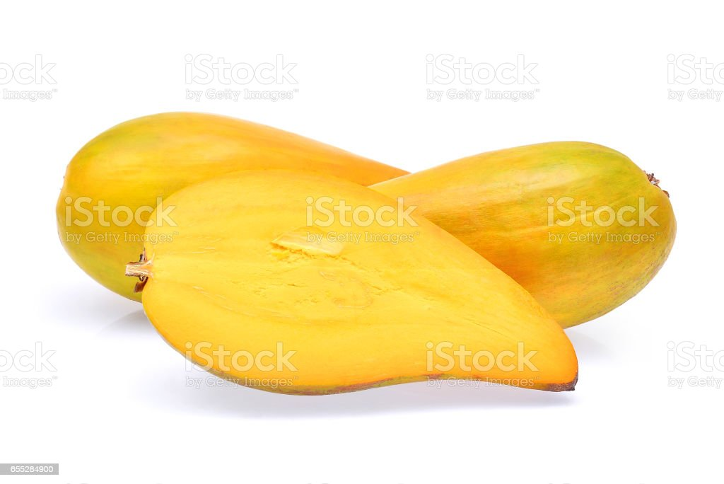 Egg fruit, Canistel, Yellow Sapote (Pouteria campechiana (Kunth) Baehni) isolated on white stock photo