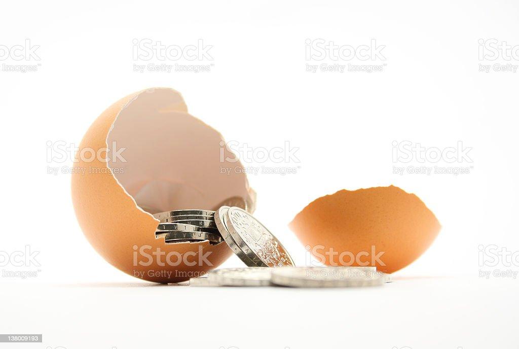 Egg full of money royalty-free stock photo