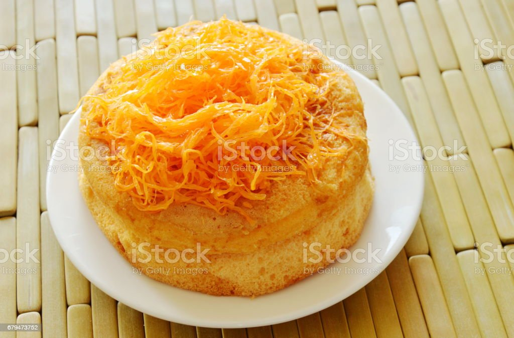 egg golden threads cake on dish royalty-free stock photo