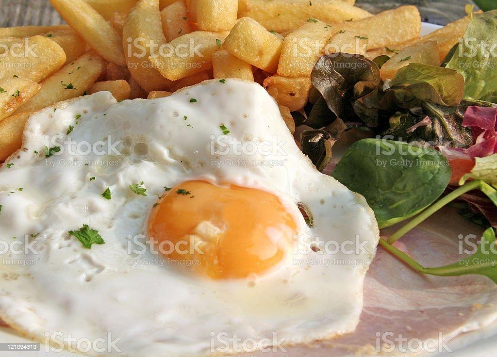 Egg Ham & Chips royalty-free stock photo