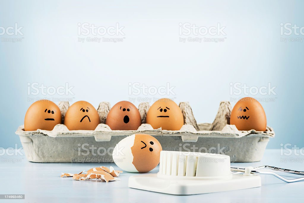 Egg Humor: The Unlucky One stock photo