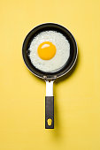 Cooked egg in a pan on a yellow background