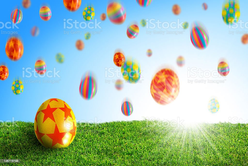 Egg in Grass stock photo