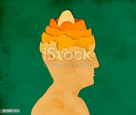861553788 istock photo Egg in man's head, paper cutting style 825661324